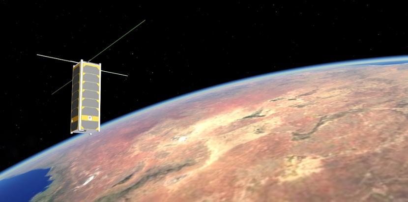 Wizualizacja artystyczna satelity PW-Sat3 na orbicie ziemi Źródło: Politechnika Warszawska